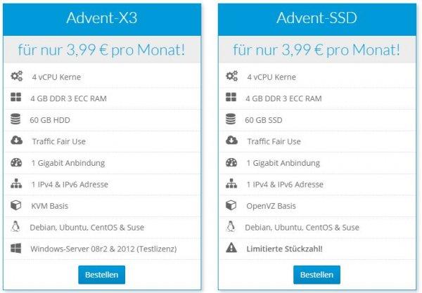 VPS Angebot für 3,99 mit KVM oder SSD!
