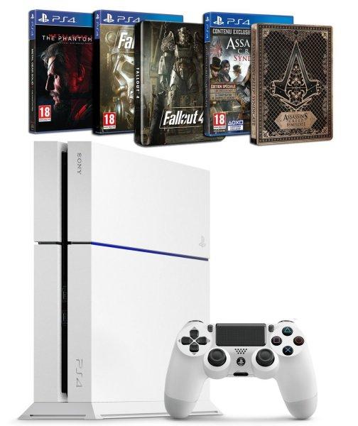 Sony PlayStation 4 (Neue Version) in schwarz oder weiß + Assassin's Creed : Syndicate mit Steelbook + Fallout 4 mit Steelbook+ Metal Gear Solid V : The Phantom Pain inkl.Vsk für 385,06 €