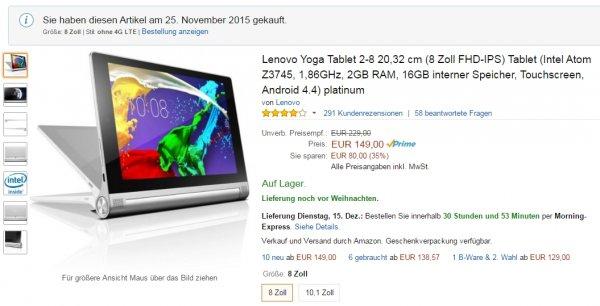 ? Lenovo Yoga Tablet 8 Zoll 2GB RAM 16GB Androit 5.1 @ Amazon für 149 €