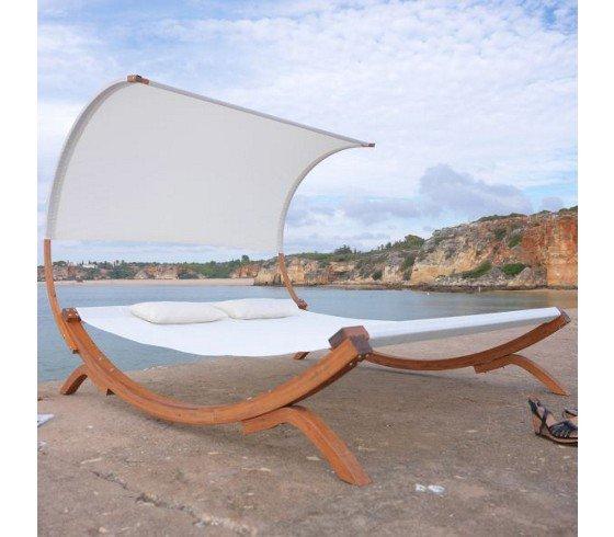 Relaxliege Venezia für zwei Personen (200 kg) :-) mit Dach und zwei Kissen