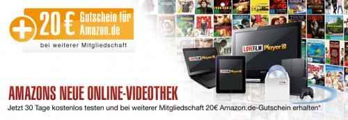 Lovefilm 2 Monate für 4,99 Euro testen + 20 Euro Amazon-Gutschein (für Neukunden)