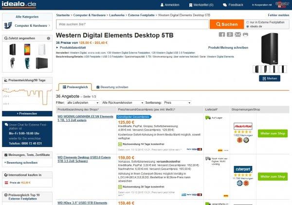 [Amazon] WD Elements 5TB externe Festplatte für 125,00 €