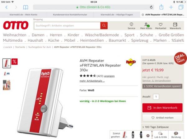[otto.de] AVM Fritz Repeater 310 für 19,99€