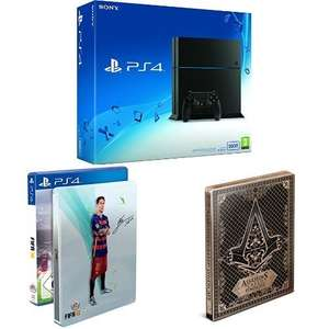 [Amazon.de Tagesangebot] Sony PlayStation 4 schwarze Konsole 500GB [neue Version 1216A] + FIFA 16 - Steelbook Edition + Assassin's Creed Syndicate - Special Edition inkl. Steelbook