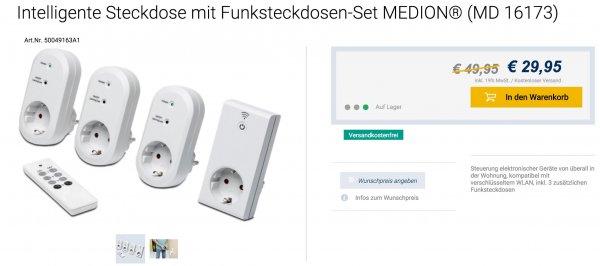 [Medion] 4 Funksteckdosen Set (MD 16173); per App und FB steuerbar