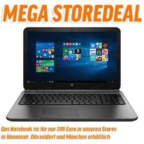 [Notebooksbilliger] HP 250 G4 P5S18ES Notebook - 15 Zoll matt, Intel Core i5-5200U, 8GB RAM, 1TB HDD, Windows 10 - Lokal Hannover, Düsseldorf und München