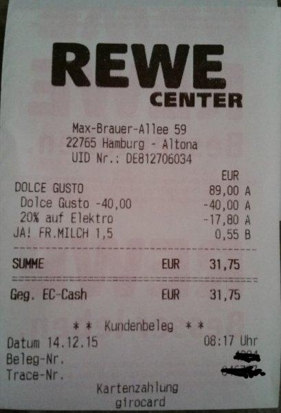 REWE-CENTER HH-ALTONA: Dolce Gusto Circolo für 31,20 €
