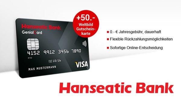 (Hanseatic Bank) Kostenlose GenialCard Visa Kreditkarte + 50 € Weltbild Gutschein geschenkt