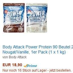 [Amazon.de] Body Attack Power Protein 90 Beutel 2er Mix: 18,90 €/kg