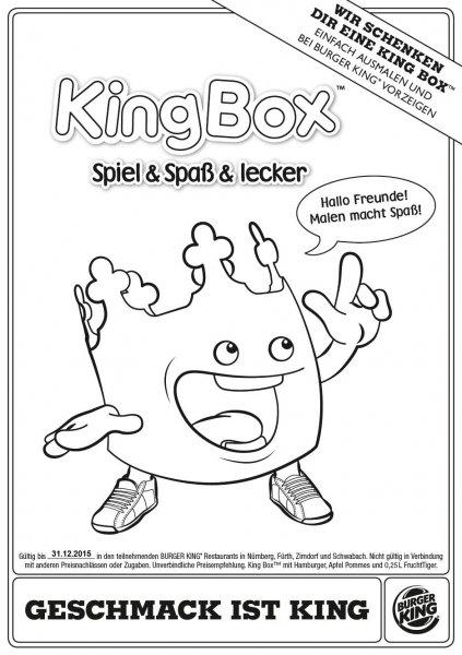 [Lokal] Gratis Kingbox bei Burger King durch Ausmalen von Vorlage in Nürnberg, Fürth, Schwabach & Zirndorf