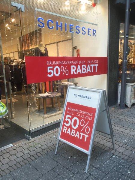 Köln - Schiesserstore Räumungsverkauf 50% auf alles