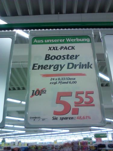Für den Nachtdienst: Booster Energy Drink 24 x 0,33 l Dosen 5,55 € + 6,00 € Pfand [offline Marktkauf Bielefeld]