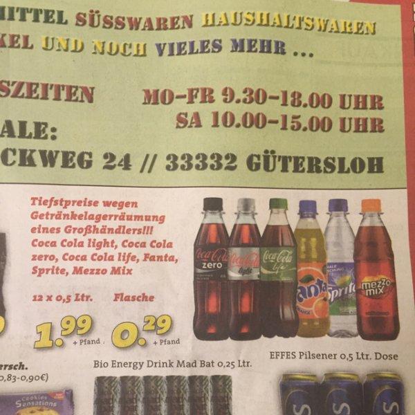 [Lokal] [Mega Kauf] 12x 0,5 Ltr. Coca Cola (Light, Zero, Life) Fanta, Sprite, Mezzo Mix