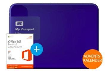 """My Passport Ultra 1TB (2,5"""") Blau + Office 365 Personal für 65€ bei Saturn.de"""