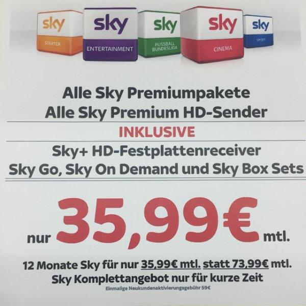 Sky komplett für 35,99€/Monat
