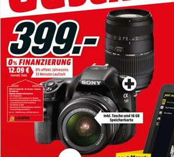 [Media Markt] Sony Alpha 58 + 18-55mm + 70-300mm + Tasche + 16GB Speicherkarte für 399,- inkl. Versand