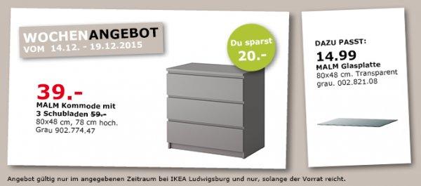[IKEA Ludwigsburg] MALM Kommode mit 3 Schubladen in Grau für 39€ (Normalpreis 59€)