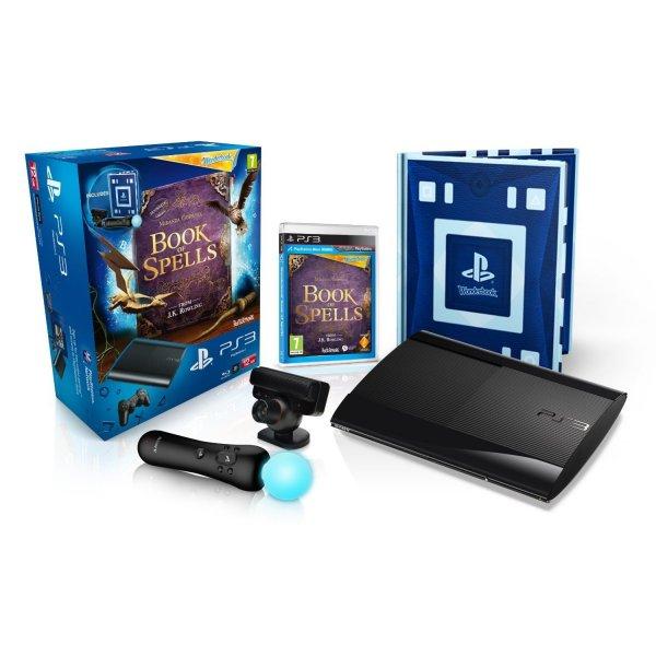 PlayStation 3 - Konsole Super Slim 12 GB (inkl. DualShock 3 Wireless Controller + Move Starter Pack + Wonderbook: Das Buch der Zaubersprüche) für 145.32€ bei Amazon.co.uk