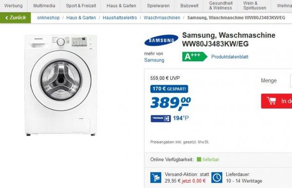 [real.de] Samsung Waschmaschine WW80J3483KW/EG versandkostenfrei