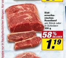 Fleischeslust! Südamerikanisches Roastbeef 11,90€/kg @Toom