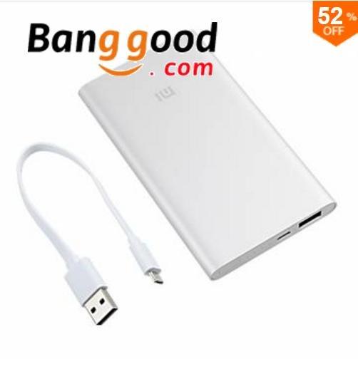 [Banggood.com] Original XIAOMI 5000mAh Powerbank Extra + USB Kabel 9,76 + ggf. QIPU