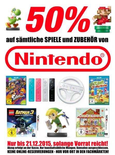 [Lokal FLÖSCH] 50% Rabatt auf ALLE Nintendo Spiele und Zubehör (Wii U & 3DS & Amiibo)