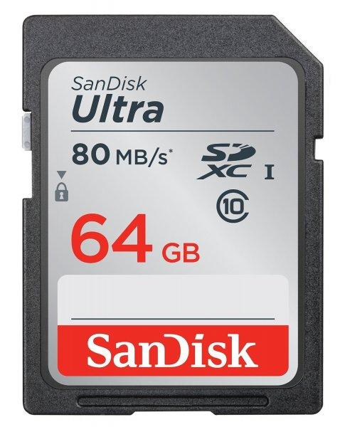 SanDisk Ultra 64GB SDXC bis zu 80 MB/Sek, Class 10 Speicherkarte [Neueste Version] ab 20 € @ Mediamarkt.de (Abholung) und Amazon (Prime)