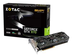 ZOTAC GeForce GTX 970 AMP Edition 4 GB (3.5 GB + 0.5 GB) OC Enthusiast Grafikkarte für 309,90€ @ Computeruniverse