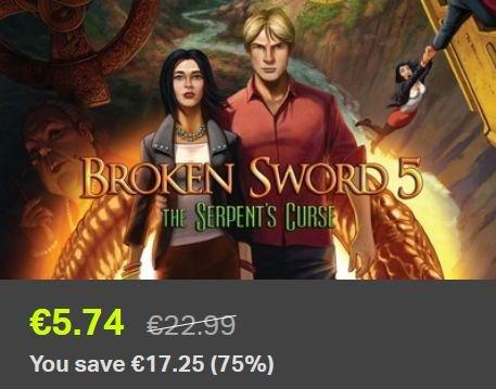 [Steam] Broken Sword (Baphomets Fluch) Teil 5 für 5,74€ @ Bundle Stars