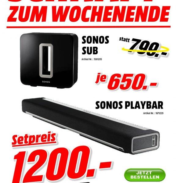 Sonos Playbar oder Sonos Sub für je 650€ oder zusammen für 1200€ !