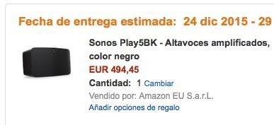 Sonos Play 5 Gen 2 (schwarz) NEU für 505,19 € @ amazon.es