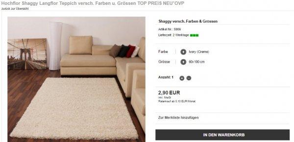 Hochflor Shaggy Langflor Teppich versch. Farben u. Größen NEU & OVP ab 2,61 € versandkostenfrei [Nicht auf der mobilen Seite!]