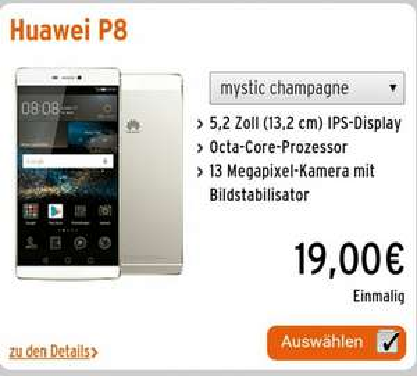 Otello Allnet-Flat L  mit Huawei P8 für 7,36€ monatlich effektiv, kein LTE.