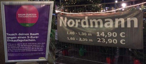 Weihnachtsbaum @ IKEA Lübeck: Nordmanntanne 1 - 1,30m für nur €12,90 oder 1,6 - 2,3m für nur €21,90 durch Gutschein, zusätzlich €5 IKEA Gutschein möglich, €3 werden für guten Zweck gespendet