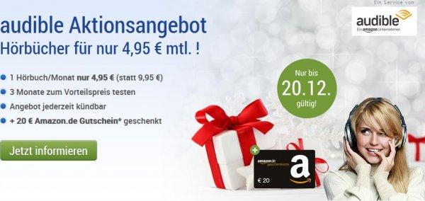 [GMX] 3 Monate Hörbücher bei Audible für 4,95€ im Monat abonnieren & 20€ Amazon Gutschein als Prämie erhalten