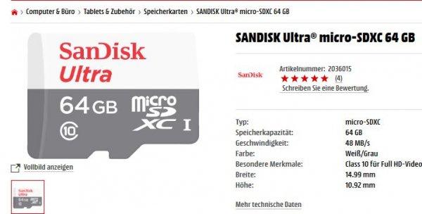[mediamarkt] [amazon] SanDisk Ultra micro SDXC 64 GB mit Adapter (auch 32 GB oder 128 GB)