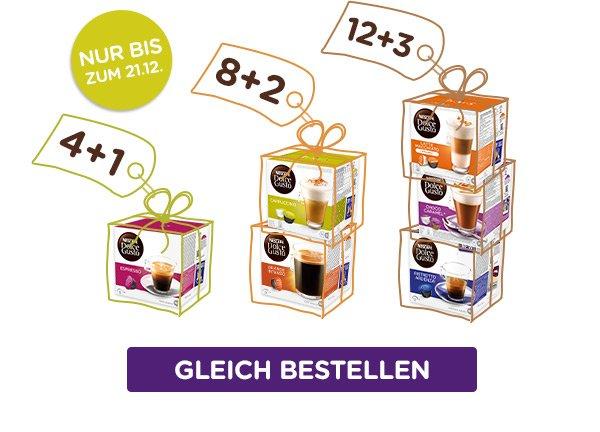 NESCAFÉ Dolce Gusto Kapseln - 4, 8, 12 zahlen 5,10, bzw. 15 erhalten (20% Rabatt) perfekt für Gutschein-Guthaben.