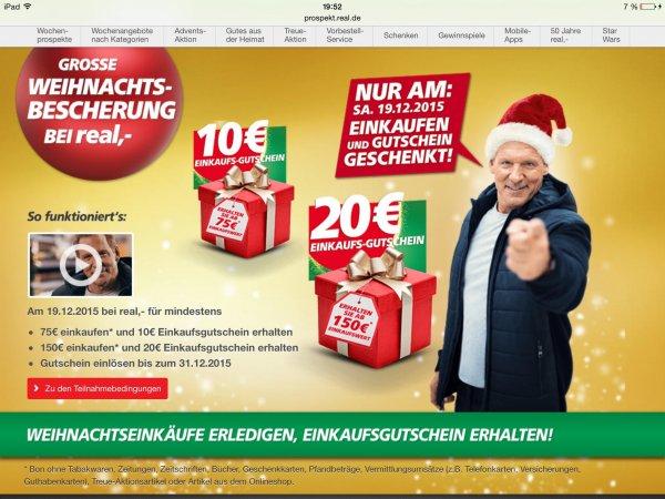 ( Offline ) Weihnachtsbescherung bei Real 10 Euro ab 75 20 Euro ab 150