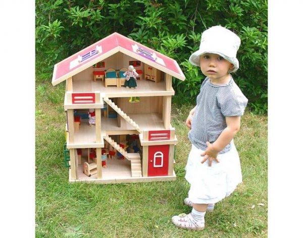 [VDP] LOTTE, gigantisches Puppenhaus, Holz, 54x37x69cm, mit Möbel und Puppen
