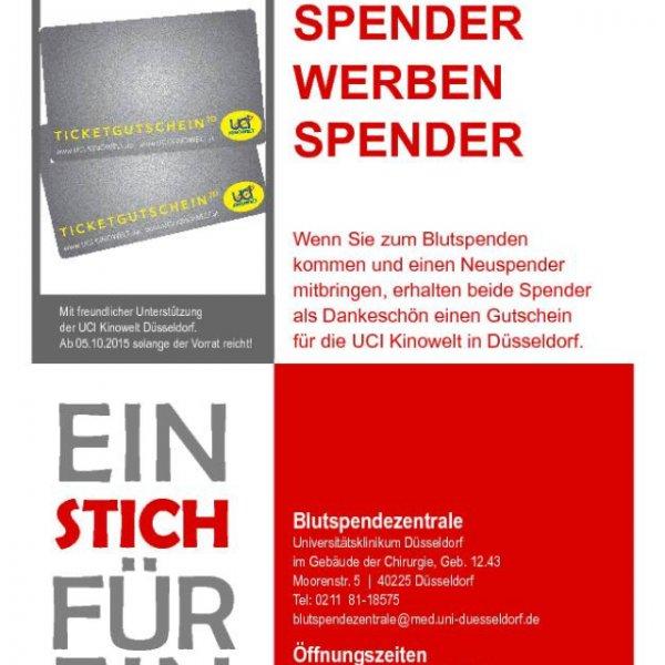 "[evtl lokal Düsseldorf] Gratis UCI Kinokarte Aktion ""Spender werben Spender"" Blutspende Uni Klinik"