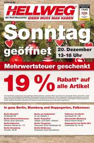 Hellweg Berlin: 19% Rabatt am 20.12.2015