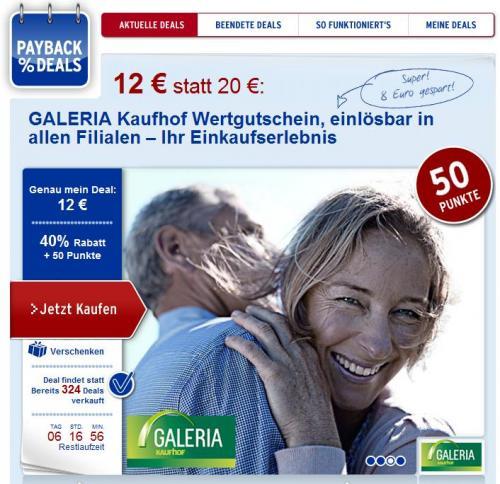 20 Euro Kaufhof Gutschein für 12 Euro bei paybackdeals (+ 50 Payback Punkte)