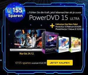 Cyberlink PowerDVD 15 Ultra + PowerMedia Player +Power2Go 10 Platinum + PhotoDirector 7 Deluxe + PowerDVD Remote