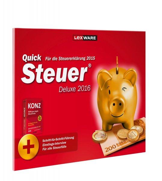 Amazon QuickSteuer Deluxe 2016 (für Steuerjahr 2015) (Frustfreie Verpackung) 12,49€