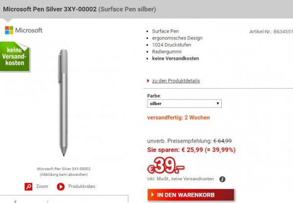 [@redcoon.de] Surface Pen 4 für 39 € inkl. VSK #idealo ab 49,46€