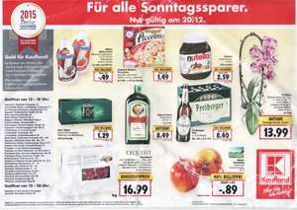 Lokal Großraum Berlin: Kaufland-Angebote am 20.12 (z. B. 750 Gr. Nutella 2,59, Roastbeef 1 kg 16,99, Müllermilch 49 Cent)