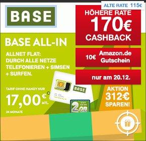 qipu: Base All-In Tarif – Allnet Flat, SMS Flat, 2 GB – für 17€ monatlich+ 170€ Cashback + 10€ Amazon.de Gutschein