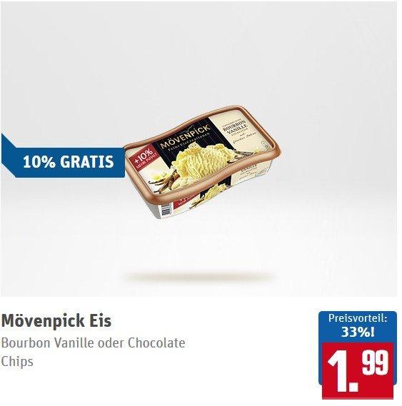 [REWE] Mövenpick Eis versch.Sorten 990ml (10 % Gratis) für 0,99€ (Angebot+Scondoo)