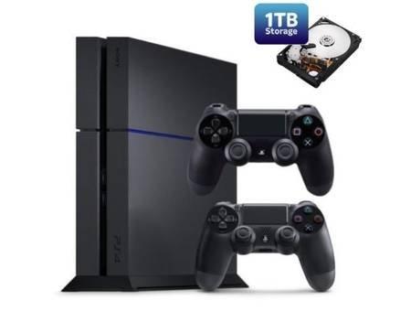 Sony PlayStation 4, Spielkonsole, 1TB HDD, 2 Controller, schwarz, Modell CUH-1216B @Allyouneed zum Top Preis für 364 € inkl VSK.