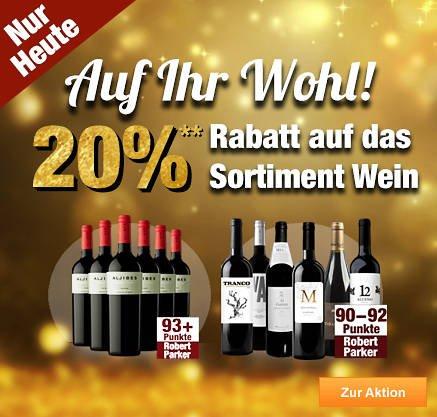 20% Rabatt aufs Weinsortiment (auch Champagner) heute bei Plus